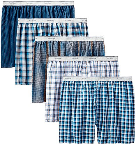 Fruit of the Loom Men's Contemporary Plaid and Stripe Boxer, Multi, Medium(Pack of 5) by Fruit of the Loom