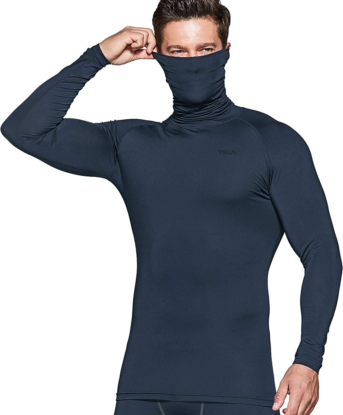 TSLA Men's Cool Dry Fit Mock Long Sleeve Compression Shirts, Athletic Workout Shirt, Active Sports Base Layer T-Shirt
