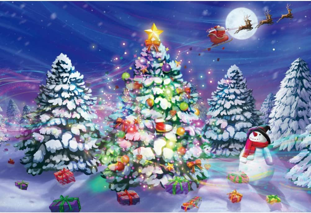 Haoyiyi 10x8ft Merry Christmas Colorful Carton Tree Backdrop Photography Snowman Gift Box Stocking Snow Background Santa Claus Deers Sleigh Kids Baby Adult Photo Booth Studio Props