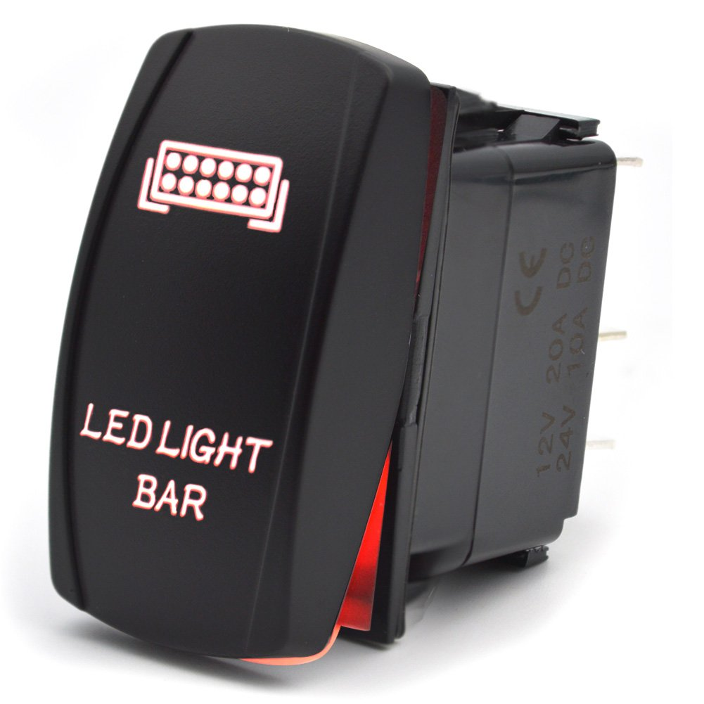 Safego LED Light Bar 5Pin Rocker Switch ON-OFF Auto Car Lamp Light 12V 20A Red RS-LLB-R Y