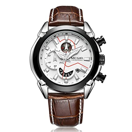 SW Watches MEGIR Relojes Deportivos para Hombres Cronógrafo Calendario Luminoso Reloj de Pulsera de Cuarzo de