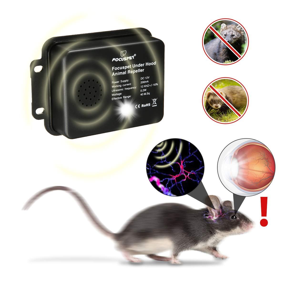 Focuspet Repelente de Rat/ón,2 Piezas Repelente de Coches Repelente de Ultrasonidos de Animales Repelentes Desconocidos contra Ratas,Visones etc