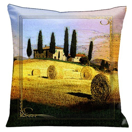 Lama Kasso Como Gardens Tuscan Country Side Micro-Suede 18-Inch Square Pillow, Design on Both Sides by Lama Kasso