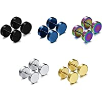 Comelyjewel Men Stainless Steel Boys Charm Round Black Gold Faux Plug Studs Earrings (8mm Mix Color (5pairs))