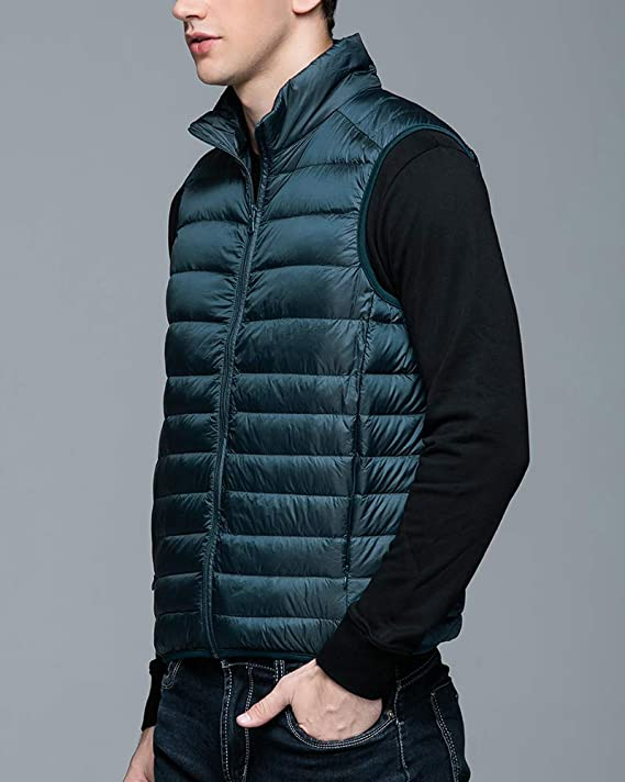 ultraligera sin mangas chaqueta acolchada de burbujas Chaleco plegable con capucha para hombre