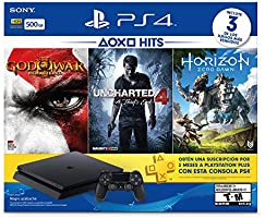 CONSOLE PLAYSTATION 4 500GB + 3 JOGOS (GOD OF WAR III, UNCHARTED 4 A THIEFS END, HORIZON ZERO DAWN)