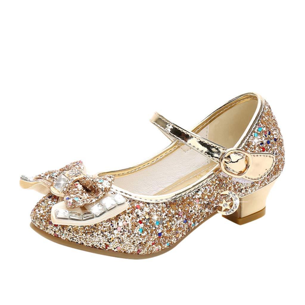 Inueinnd Zapatos Princesa Ni/ñAs Bling Lentejuela Bowknot Zapatos De Tango Bailarina Zapatos Ni/ñA Fiesta Zapatitos De Tac/óN Sandalias Primavera 5-12.5 A/ños