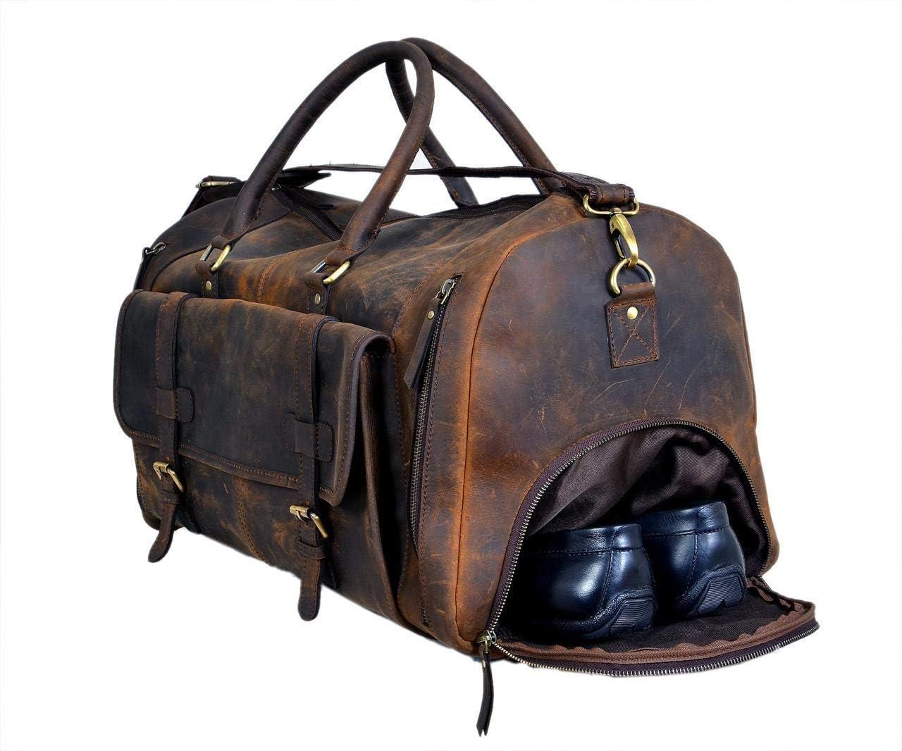 Mens Leather Duffle Weekend Bag Large Travel Womens Holdall Handbag Luggage G1L9