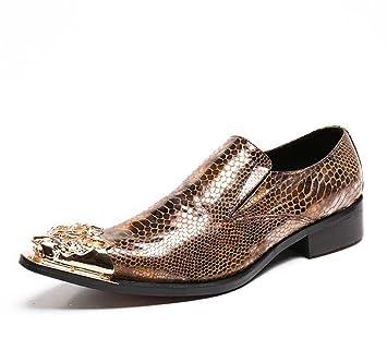 Winklepicker Metal Dedo del pie puntiagudo piel genuina De los hombres Bomba Negocio Casual Los zapatos