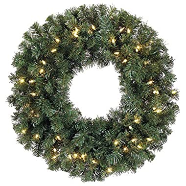 24 Inch Battery Operated Pre-lit Christmas Pine Wreath with 50 Led Clear Lights and Timer, Indoor/outdoor by all
