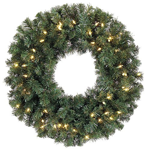 (24 Inch Battery Operated Pre-lit Christmas Pine Wreath with 50 Led Clear Lights and Timer, Indoor/outdoor by)