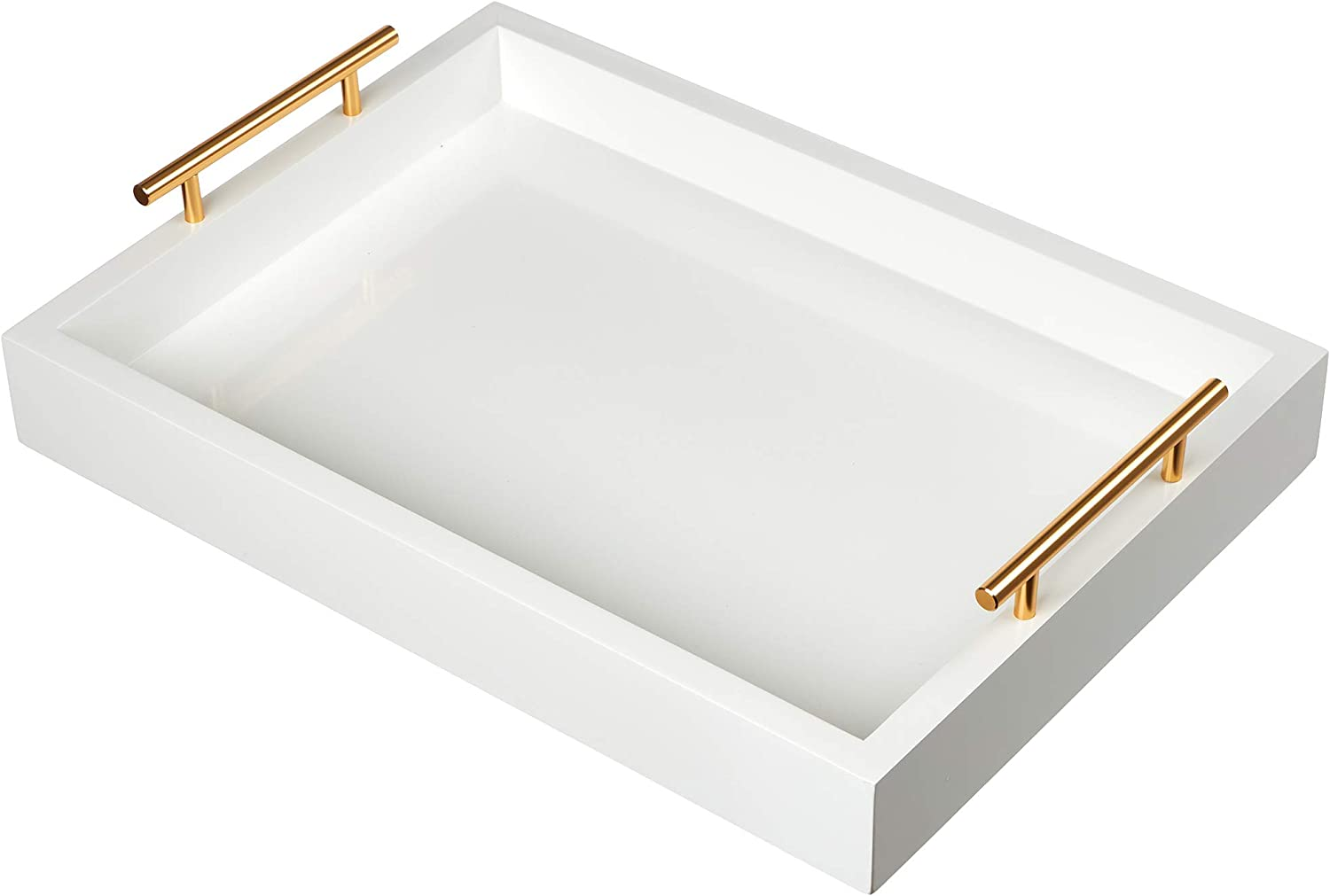General King Merchandise Elegant Scratch Resistant Decorative Serving Tray For Food And Drinks Pearl White With Polished Gold Handles Amazon Co Uk Kitchen Home