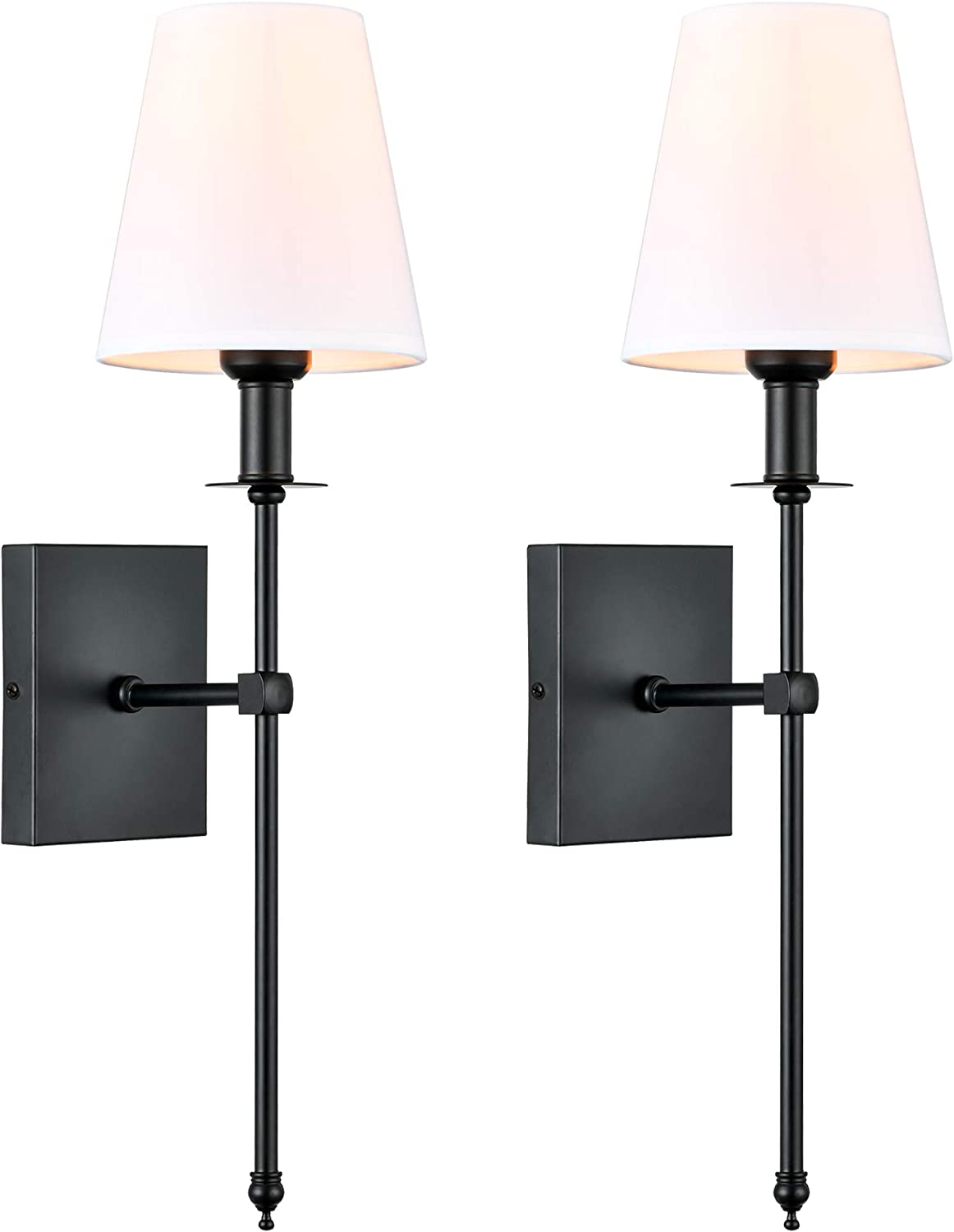 Passica Decor Modern Matt Black Wall Sconce Set of Two, with Vertical Rod and White Fabric Flared Shade,Versatile Used in Bathroom Vanity Stairway Fireplace Living Room Bedroom Nightstands