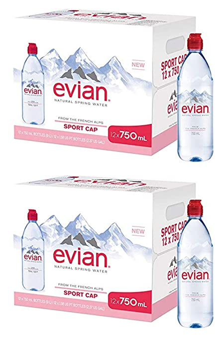 e6871ef1b4 evian TNKYBKUF Natural Spring Water Individual 750 ml (25.4 oz.) Bottle  with Sport