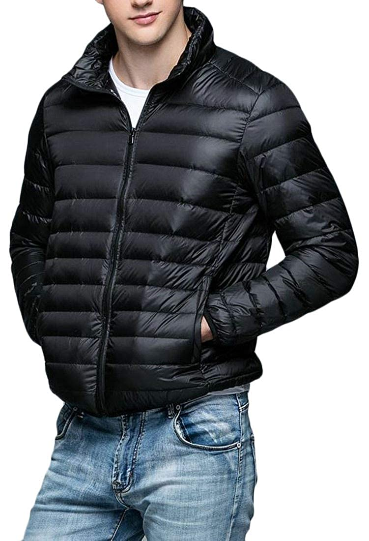 Sweatwater Mens Puffer Stand Collar Plus Size Ultra Light Packable Down Jacket Coat