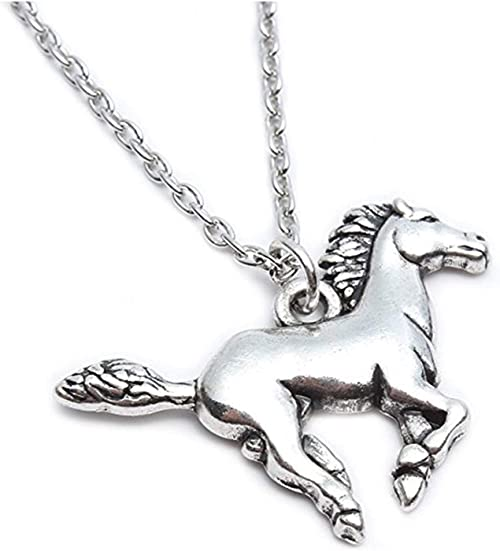 horse pendant necklace Silver plated double sided pony