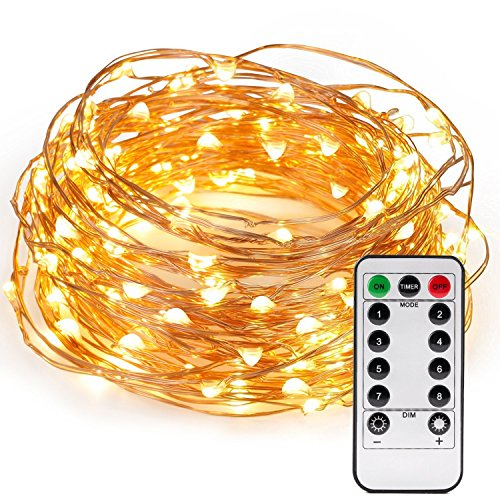 Kohree 120 Micro LEDs Christmas String Lights Battery Powered 40ft Long Ultra Thin String Copper Wire Lights with Remote Control and Timer Perfect for Weddings,Party,Bedroom,Xmas-2C Batteries (Micro String)