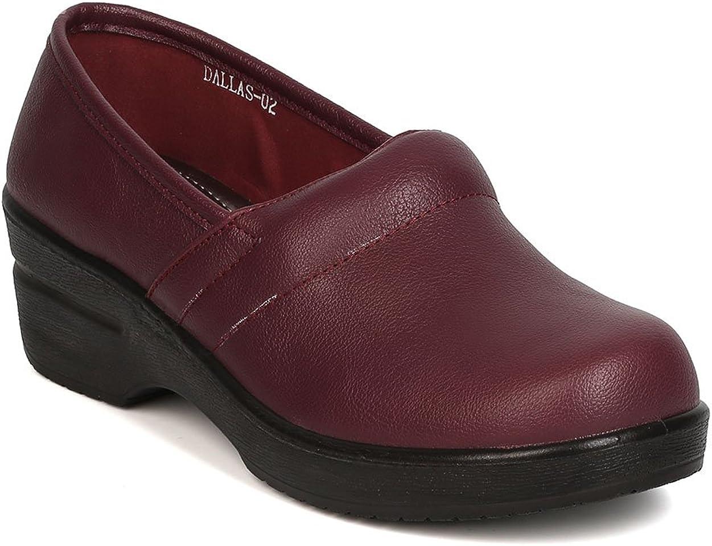 Refresh Women Leatherette Round Toe Slip auf Clog Bh36 - Wine