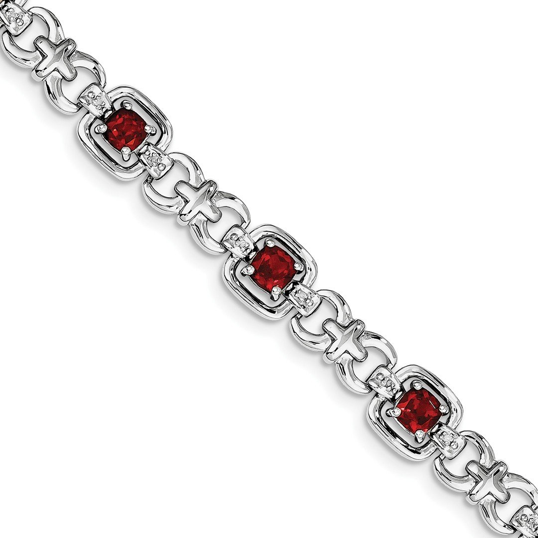 ICE CARATS 925 Sterling Silver Diamond Red Garnet Bracelet 7 Inch Gemstone Fine Jewelry Ideal Mothers Day Gifts For Mom Women Gift Set From Heart