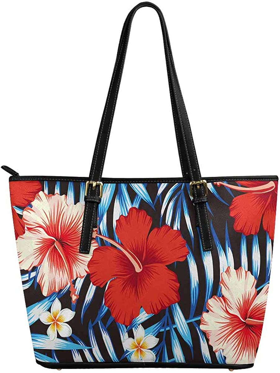 InterestPrint Red and Pink Hibiscus Flower Womens Tote Bags PU Leather Work School Travel and Shopping