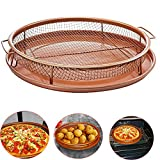 Egoelife Copper Ceramic Coating Crisper Tray Baking Frying Sheet Food Oil Filter Basket with Non Stick Mesh Dishwasher Safe (Round)