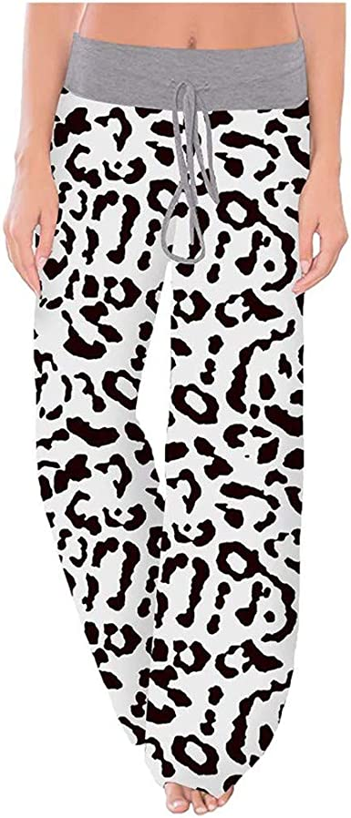 Acction Mujer Casual Cordon Impresion De Leopardo Cintura Baja Yoga Amplios Pantalones Palazos Moda Dama Anchos Fluidos Pierna Ancha Pantalon Amazon Es Ropa Y Accesorios
