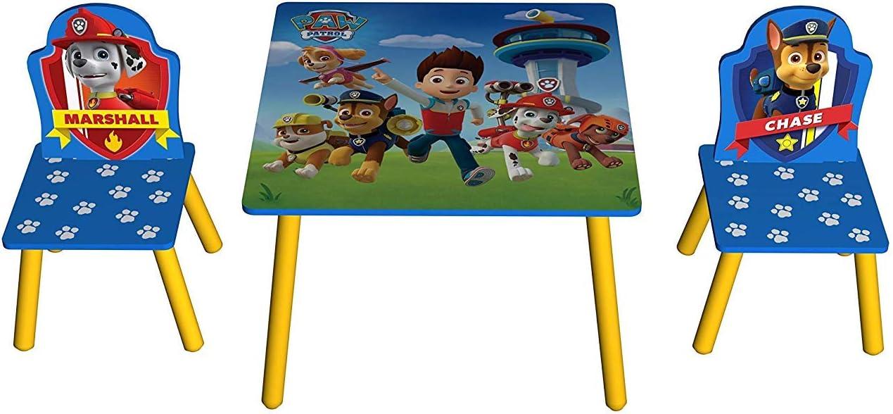 Juego de Mesa y 2 sillas de Madera de la Patrulla Canina, Everest, Chase, Marshall, Skye, Rocky.: Amazon.es: Hogar