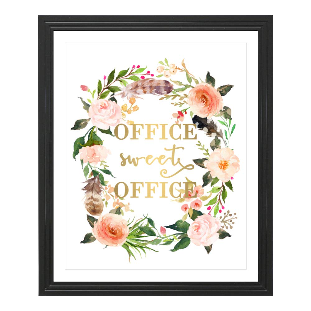 Eleville 8X10 Office Sweet Office Real Gold Foil and Floral Watercolor Art Print (Unframed) Office Quote Wall Art Home Decor Motivational Inspirational Poster Holiday Gifts WG115 by Eleville