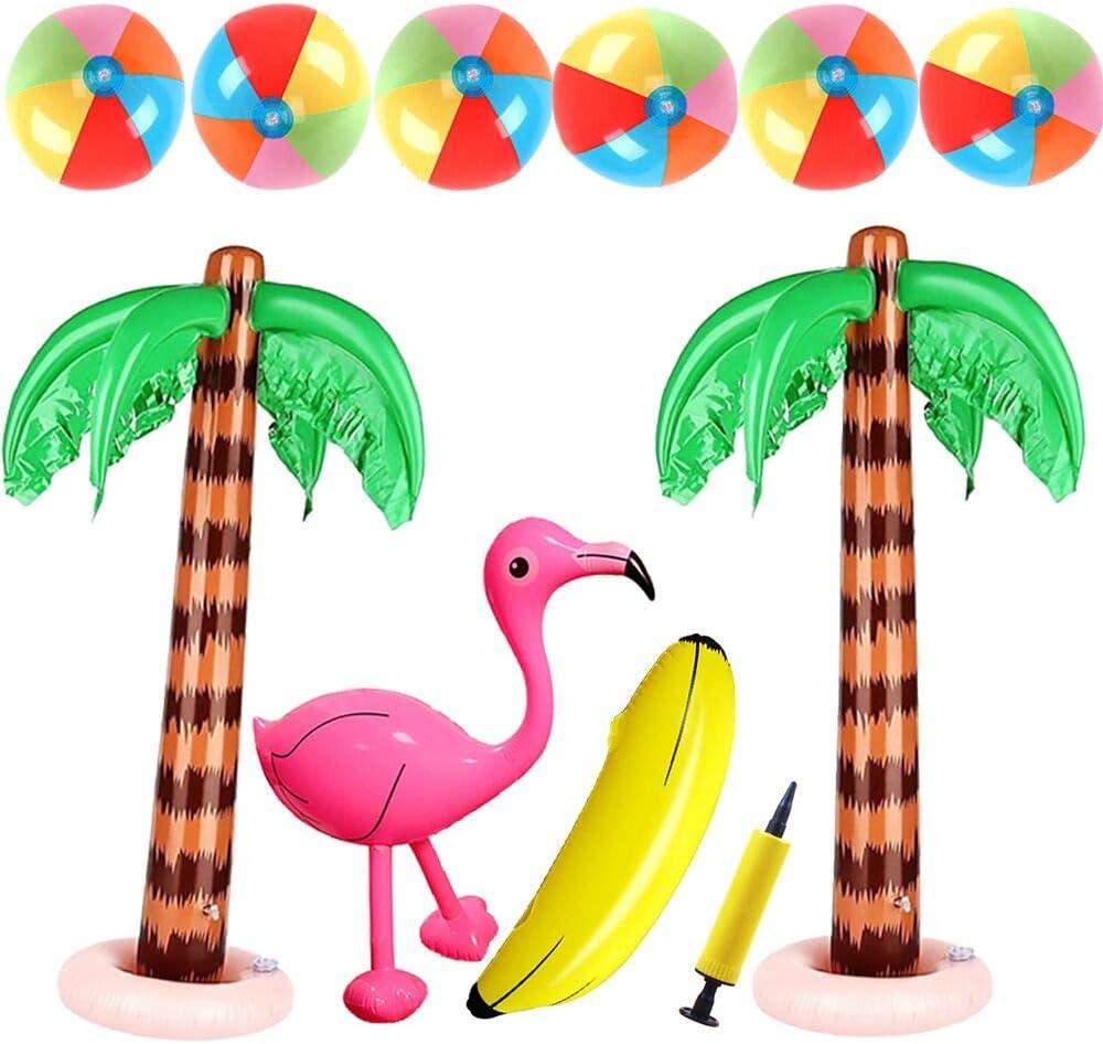 Lifreer 10PCS D/écorations de f/ête hawa/ïennes,Boules de Sable de Boule de Plage 5PCS,Palmiers gonflables 2PCS,Flamant Gonflable 1PC,1PC Bananes Toy et Pompe 1PC 18 3cm Taille S pour D/écor de f/ête