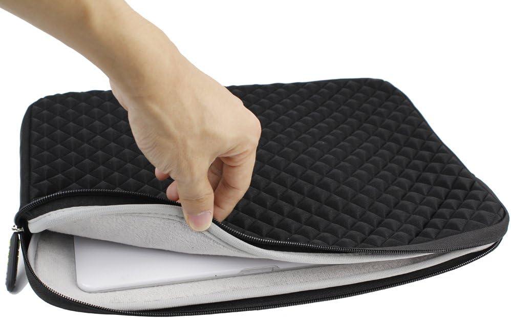 Evecase Laptoph/ülle Universal Neopren Anti-Schock Laptop Schutzh/ülle mit Rautenmuster//Diamant-Muster Schaumpolsterung f/ür 15.6 Zoll Laptops Tablets Macbooks Notebooks Chromebook Schwarz