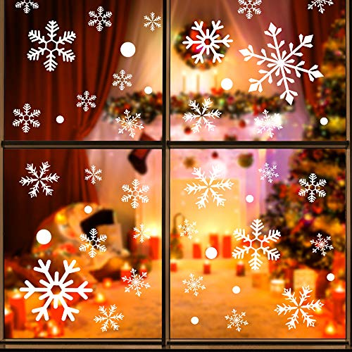 cinsey Christmas Decorations Window Cling- Ornaments Snowflakes Sticker 108 Pieces Snow Stickers Winter Wonderland for Home Office Xmas Party Supplies(4 Sheets)