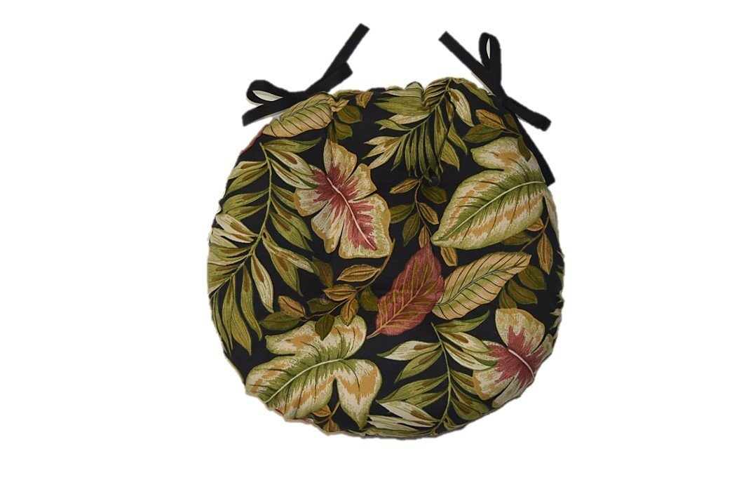 Indoor / Outdoor Round Tufted Bistro Cushion with Ties - Twilight Black, Green, Tan, Burgundy Tropical Palm Leaf - Choose Size (20'')