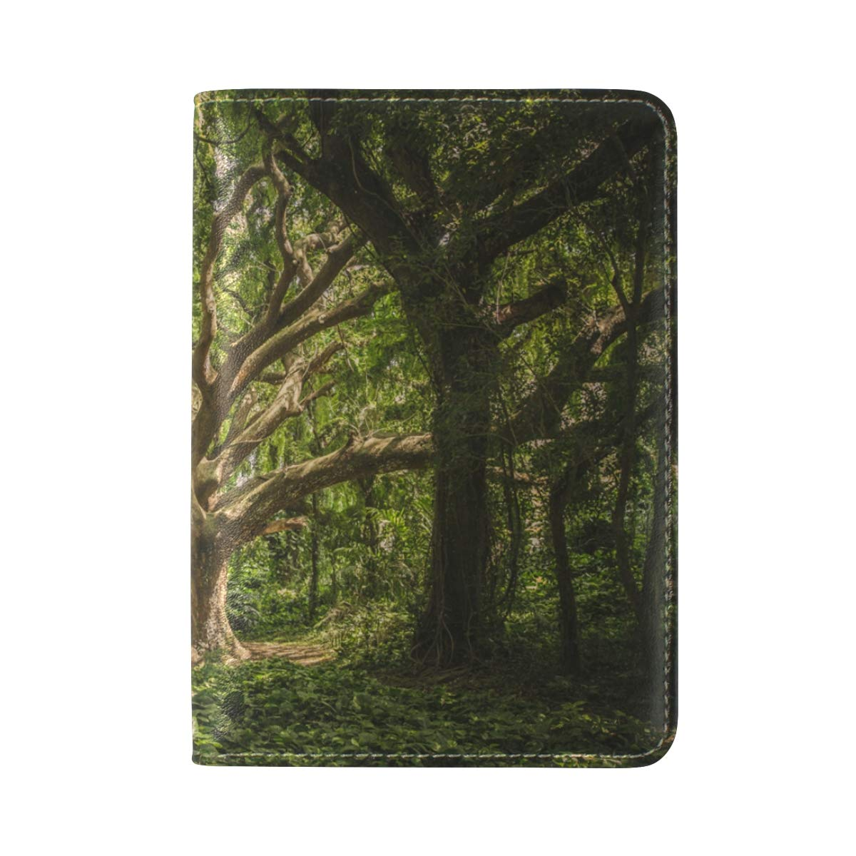 Tree Mysterious Woods Forest One Pocket Leather Passport Holder Cover Case Protector for Men Women Travel