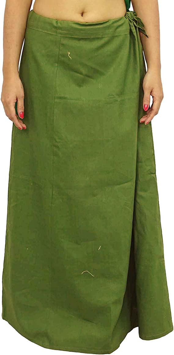 Women/'s Cotton Petticoat Inskirt Underskirt Cotton Saree Large Size Assorted Indian Sari Colors Skirt Cotton Solid Inner Wear Free Size