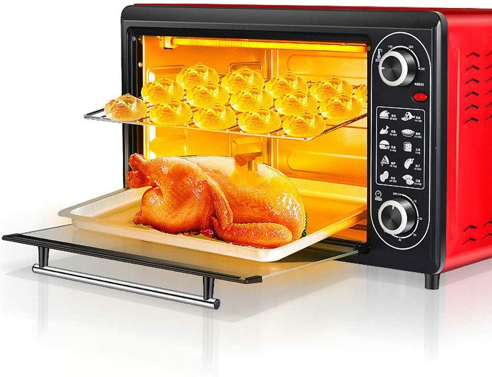 RUSE Countertop Toaster Oven with Timer,Double Layer 2200 Watts Mini Oven, 48 Liter Capacity, Includes Removable Baking Pan