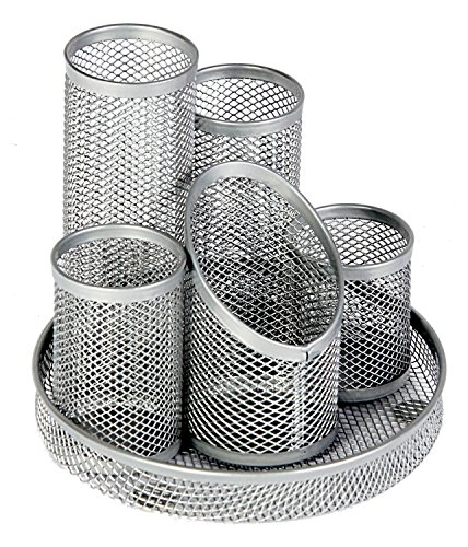 RamBue, Mesh Pencil Pot organizer 5 Compartments (Silver )