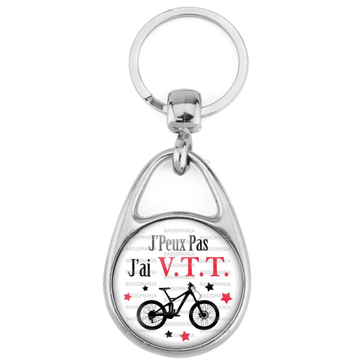 Humour Sport Excuse Id/ée Cadeau Badgmania Porte Cl/és M/étal 2 Faces Logo 3cm JPeux Pas JAi VTT V/élo