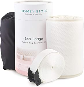 """Homey Style Twin to King Bed Bridge   Extra Wide 11.5"""" Anti-Slip Design   Adjustable Mattress Connector   Twin to King Bed Converter Kit   25D Memory Foam Split King Gap Filler   Storage Bag Included"""