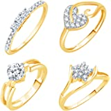 Sukkhi Artistically Gold Plated CZ Set of 4 Ladies Ring Combo for Women