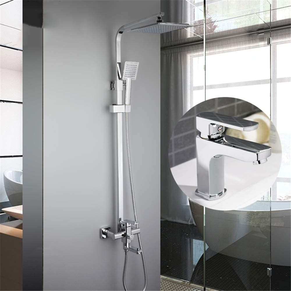 MTYLX Water-Tap Bath Shower Systems Bathroom Rainfall Shower Faucet Set with Basin Faucet Mixer Tap with Hand Sprayer Wall Mounted Bath Shower Sets