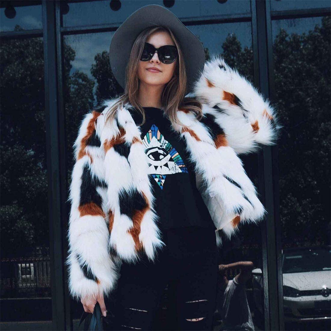 YYF Womens Winter Colorful Faux Fur Coat Thick Long Sleeve Jacket Warm Outwear with Pockets