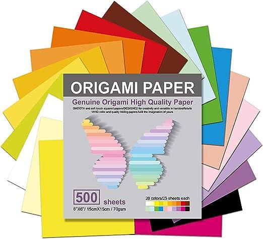 Papier Origami 500 Feuilles 20 Couleurs Vives Couleurs Double Face Pour Un Origami Colore Et Facile