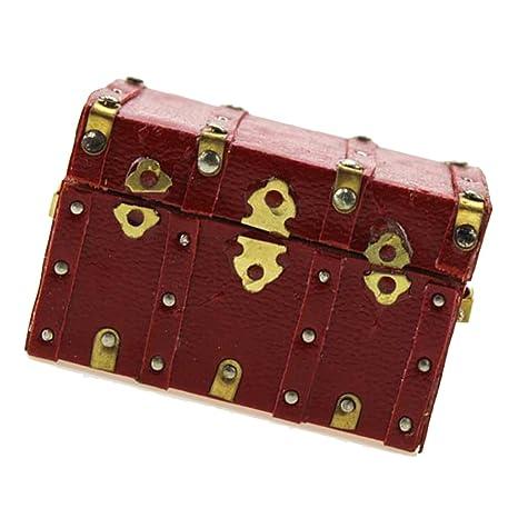 MagiDeal 1:12 Juegos para Casa de Muñecas Vintage Cubierta Caja de Equipaje Madera en
