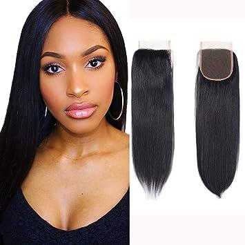 Fumigirl 8a Brazilian Virgin Hair Free Part Lace Closure 4x4 Straight Human Hair Closure Natural Black