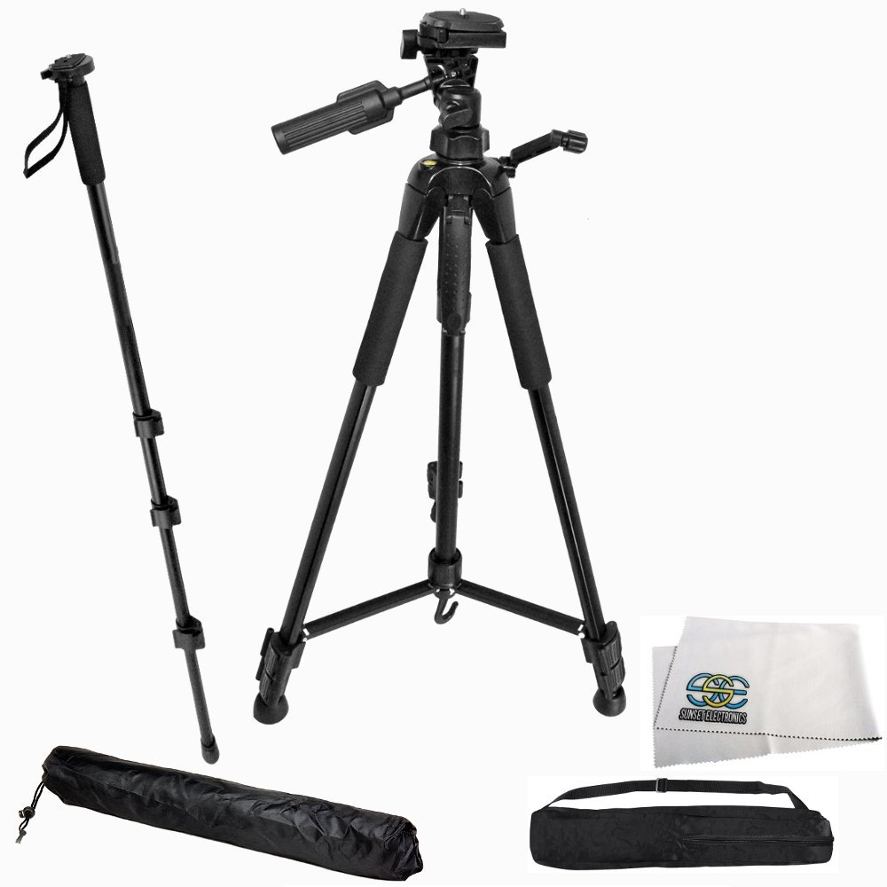 SSE 72INTRIMON Professional Tripod 3 Way Pan Head Tilt Motion with Built in Bubble Level and Monopod for Canon/Nikon/Sony/Pentax/Sigma/Fuji/Olympus/Panasonic/JVC/Samsung Cameras Plus Camcorders