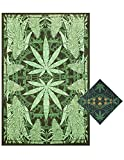 Sunshine Joy Hempest Marijuana Leaf Tapestry Tablecloth Beach Sheet Wall Art Huge 60x90 Inches with FREE BANDANA