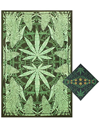 Sunshine Joy Hempest Marijuana Leaf Tapestry Tablecloth Beach Sheet Wall Art Huge 60x90 Inches with FREE BANDANA (Table Stake 22)
