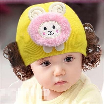 Cap niños Cap cálido gorro de punto diadema sombrero peluca princesa niña H Estilo amarillo amarillo