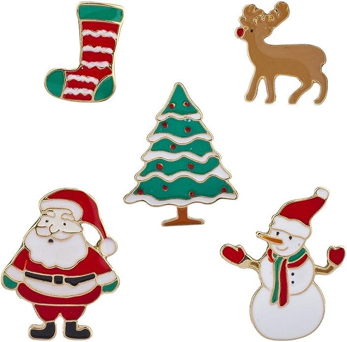 Xmas 12 Pcs Christmas Brooch Pin Set Xmas Brooch Buttons Safety Pins Snowflake Santa Badge for Clothes Bag Backpack