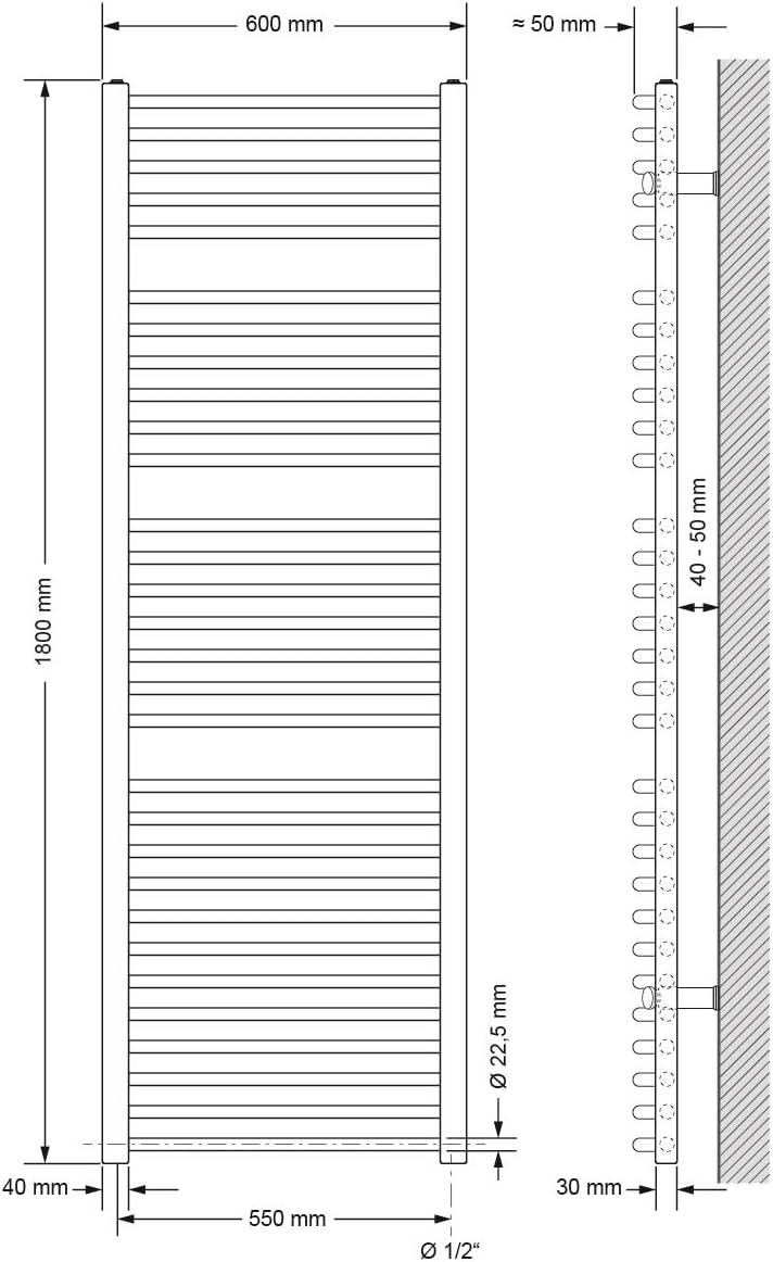 Wei/ß Heizk/örper Handtuchw/ärmer Handtuchtrockner gerade mit Seitenanschluss 400 x 800 mm ECD Germany Badheizk/örper Elektrisch mit Heizstab 600W